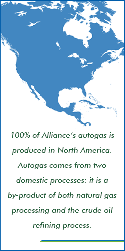 100% of Alliance's autogas is produced in North America.