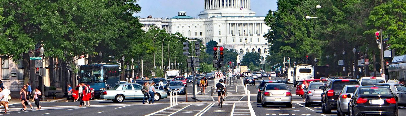 Constitution Avenue in Washington, DC, heading towards the Capitol